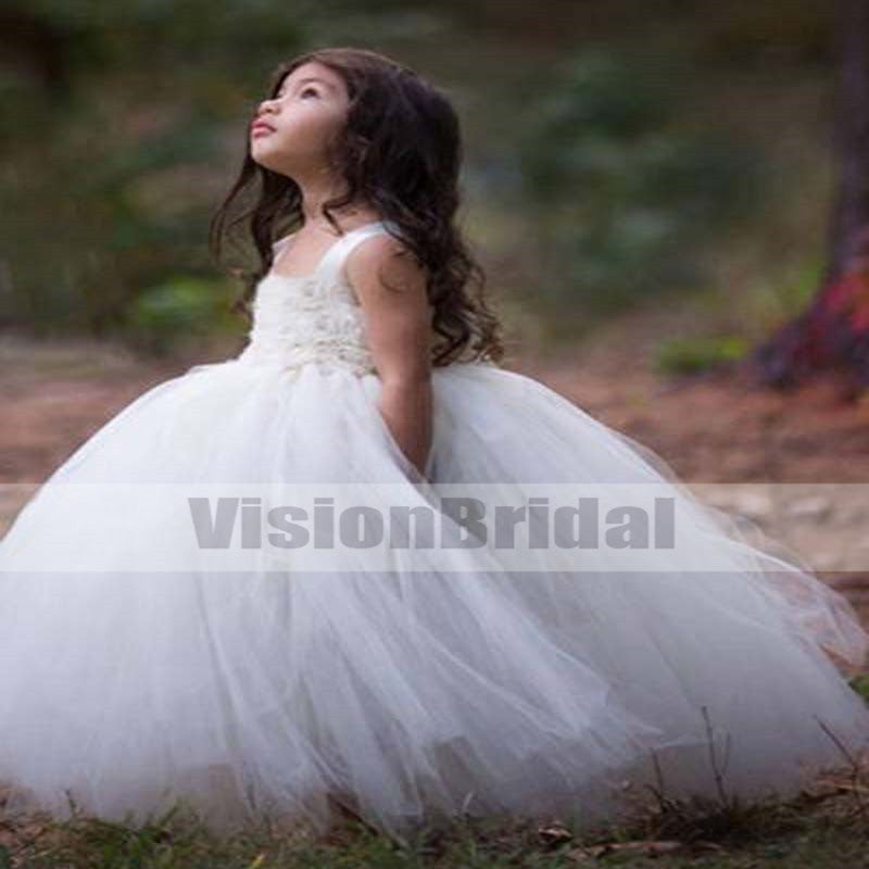 Unique Regular Straps With Flower Appliques Tutu Dresses, Cheap Popular Flower Girl Dresses, VB0815