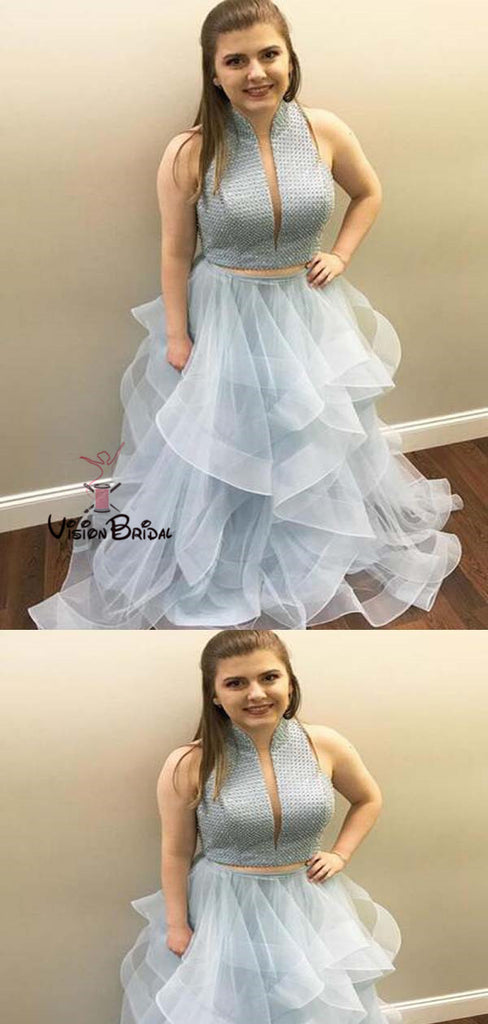 High Neck Blue Two Pieces Long A-Line Asymmetrical Organza Prom Dresses, Prom Dresses, VB01454