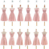 Pretty Chiffon Mismatched Different Styles Blush Pink Knee Length Cheap Bridesmaid Dresses, VB0196 - Visionbridal
