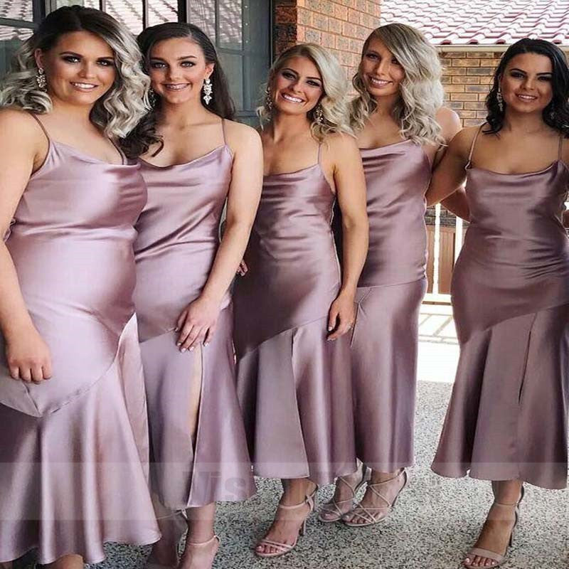Charming And Comfortable Purple Spaghetti Straps Split Tea-Length Satin Bridesmaid Dresses, Bridesmaid Dress, VB0766
