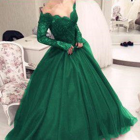 Charming Green Off Shoulder Lace Top Long Sleeve Ball Gown Tulle Prom Dresses, Prom Dresses, VB01818