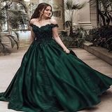 Gorgeous Dark Green Off Shoulder Ball Gown Prom Dresses With Lace, Prom Dresses, VB01328