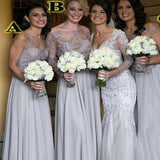 Elegant Mismatched Long A-Line Chiffon Bridesmaid Dresses With Lace, Bridesmaid Dresses, VB02135