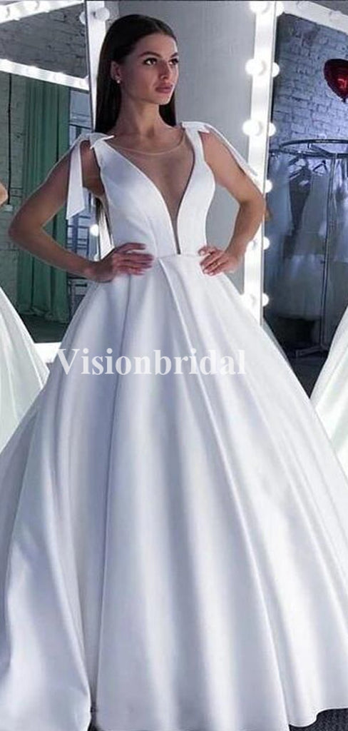 Alluring Bateau Neckline Ball Gown Satin Wedding Dresses, Wedding Dresses, VB02927