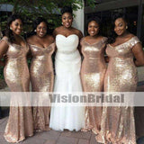 Sparkly Gold Sequin Mismatched Custom Long Bridesmaid Dresses, Affordable Unique Custom Long Bridesmaid Dresses, Affordable Bridesmaid Gowns, VB0859