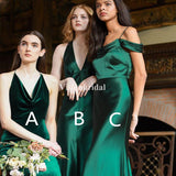 Mismatched Green Sheath Bridesmaid Dresses, Eye-Catching Bridesmaid Dresses, VB02941