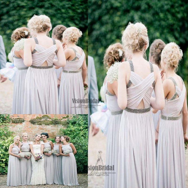 Charming For Teens Pleating Crisscross Back With Beaded Long Chiffon Bridesmaid Dress, Bridesmaid Dress, VB0548 - Visionbridal