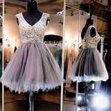 Grey sparkly V-neck charming Evening party Ball Gown homecoming prom gown dresses, VB087 - Visionbridal