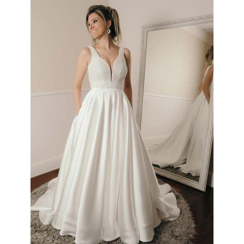 Sexy Backless V Neck A-line Custom Wedding Dresses Online, Charming Wedding Dresses, VB0855