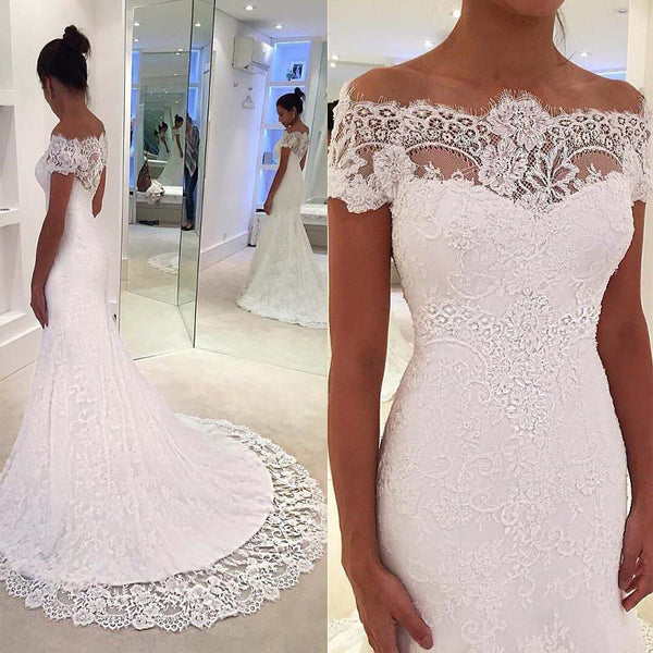 Unique Off The Shoulder Short Sleeves Lace Mermaid Wedding Dresses With Chapel Trailing, Hot Sale Wedding Dresses, VB01006