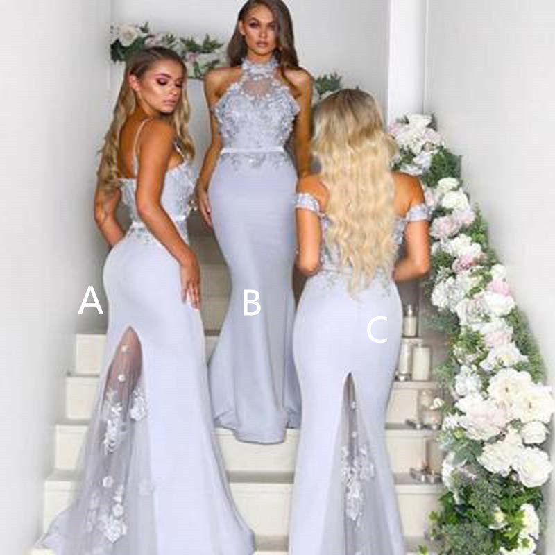 Popular Mismatched Lace Top Long Mermaid Bridesmaid Dresses With Tulle And Lace, Bridesmaid Dresses, VB01353