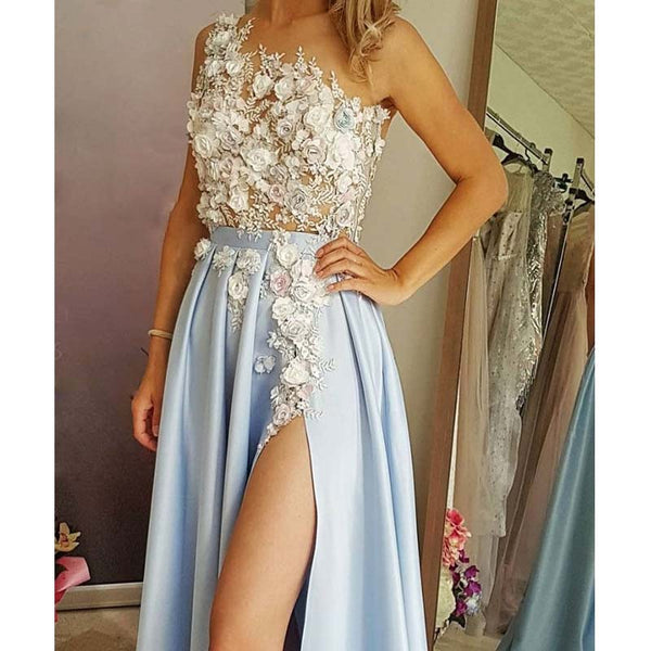 Alluring Baby Blue One Shoulder Long A-Line Side-Slit Prom Dresses With Appliques, Prom Dresses, VB01911