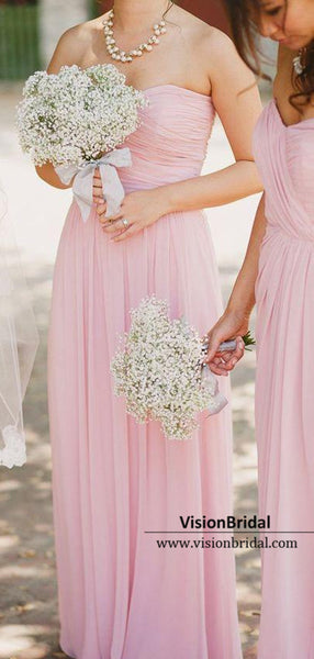 Sweetheart Pink Top Pleated A-Line Chiffon Bridesmaid Dresses, VB03783