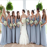 2018 Charming Spaghetti Straps Mismatched Pleating Floor Length Bridesmaid Dress, VB0358 - Visionbridal
