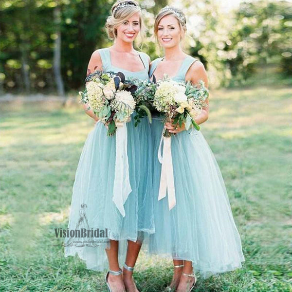 Beautiful Regular Straps Straight Neckline High Low Tulle Bridesmaid Dress, Charming Bridesmaid Dress, VB0549 - Visionbridal