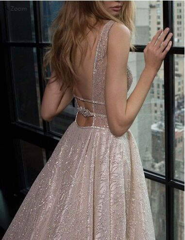 2018 Deep V-Neck Open Back Silver Sequined A-Line Long Prom Dress With Beaded, Charming Prom Dress, VB0399 - Visionbridal