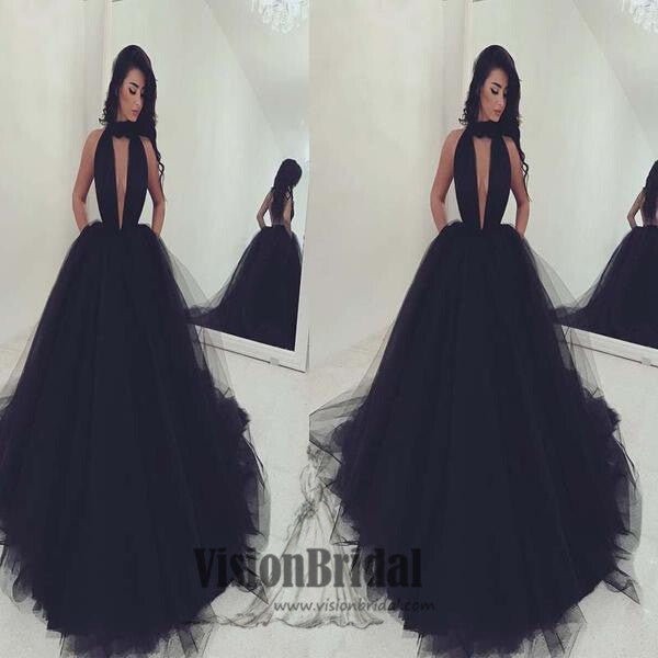 Black Halter V-Neck Ball Gown Prom Dress, Sexy Organza Prom Dress, Prom Dresses, Party Dresses, VB0228 - Visionbridal