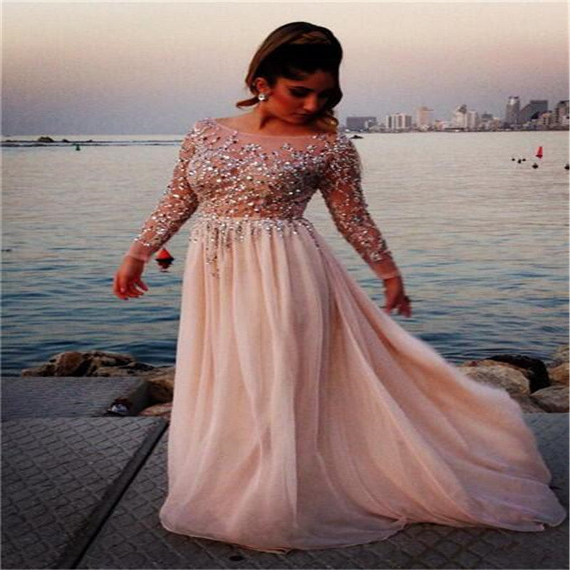 Sparkly Blush Pink Scoop Neckline Long Sleeve Backless A-Line Prom Dresses With Beaded, Long Chiffon Prom Dresses, VB01218