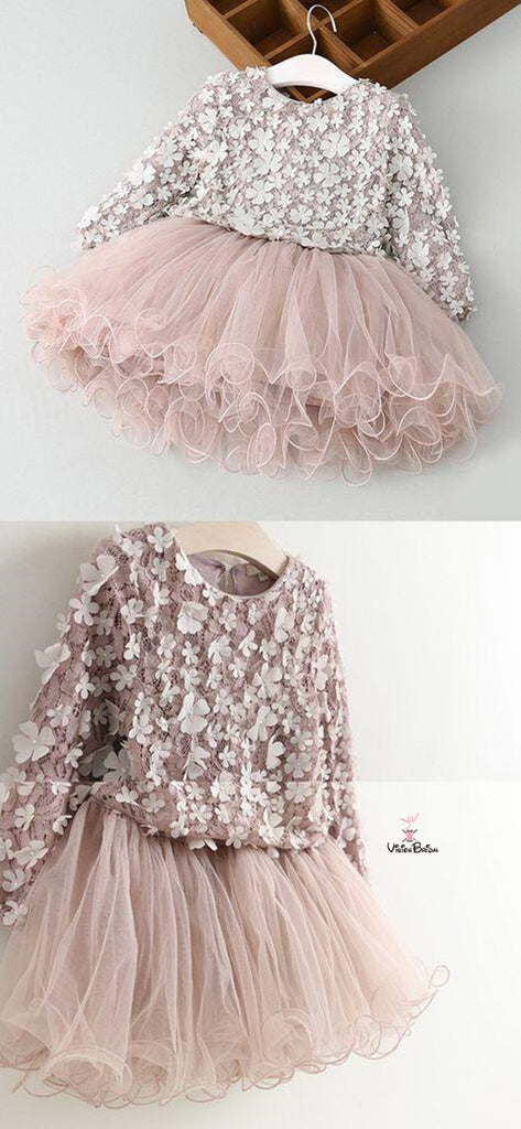 Lovely Long Sleeve With Appliques A-Line Tulle Flower Girl Dresses, Flower Girl Dresses, VB01641
