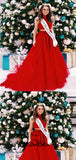 Beautiful Red High Neck Two Pieces A-Line Tulle Prom Dresses With Lace Appliques, Prom Dresses, VB01418