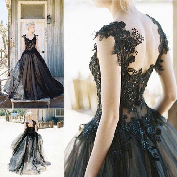 Elegant Black Lace Cap Sleeve Zipper Up Long A-Line Tulle Prom Dresses, Unique Prom Dresses, VB01656