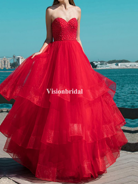 Alluring Red Sweetheart Lace Top Layered Prom Dresses, VB03599