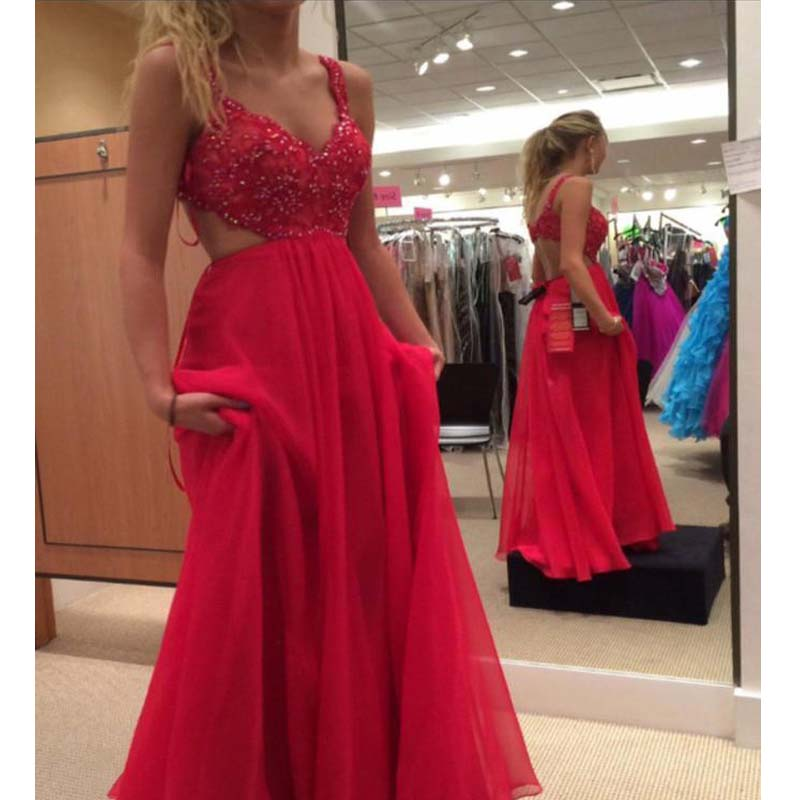 Alluring Red Straps Top Beaded Long A-Line Chiffon Prom Dresses, Prom Dresses, VB01697