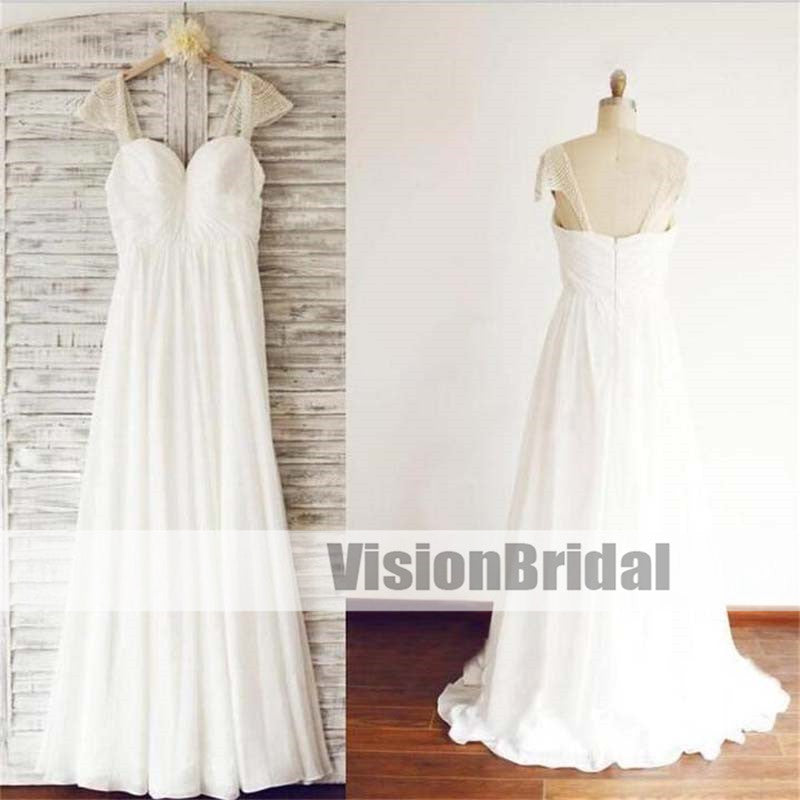 Cap Sleeve Elegant Sea Beach Chiffon Wedding Dresses With Beading, Cheap Chiffon Wedding Dresses, VB0876