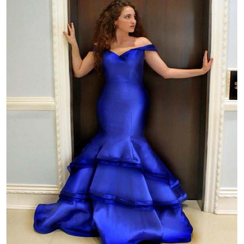 Charming Royal Blue Off Shoulder Layered Mermaid Prom Dresses, Prom Dresses, VB01745