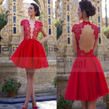 Attractive Red Lace Top Open Back Homecoming Prom Dress, Cocktail Dress, Homecoming Dresses, VB0721