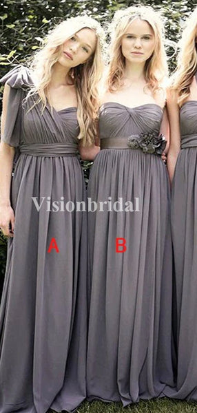 Alluring Mismatched Pleated A-Line Chiffon Bridesmaid Dresses, VB03725