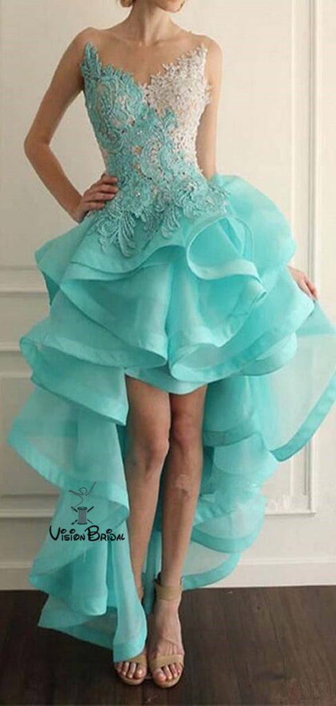 Special V-Neck High Low Tulle Prom Dresses With Lace, Prom Dresses, VB01670