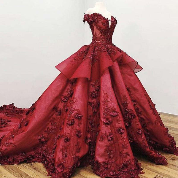 f543fd1720 Gorgeous Dark Red Off Shoulder Ball Gown With Appliques Beading Prom Dresses