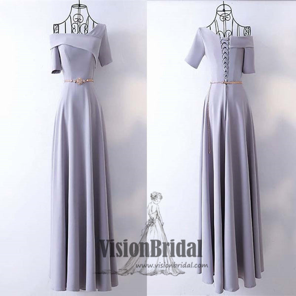 2018 One Shoulder Lavender Lace Up A-Line Floor Length Prom Dress With Band, Beautiful Prom Dress, VB0390 - Visionbridal