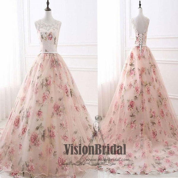 Beautiful Scoop Neckline Lace Up Flower Printed A-Line Floor Length Prom Dress, Charming Prom Dress, VB0432 - Visionbridal