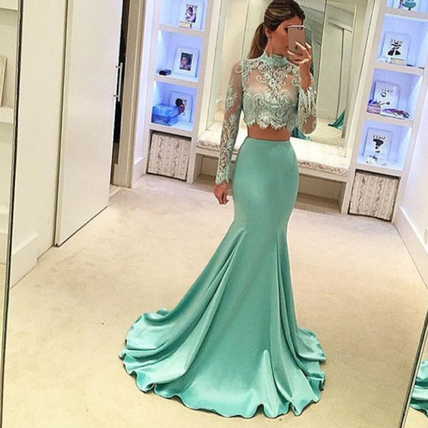 Pretty Two Pieces High Neck Long Sleeve Lace Prom Dress, Sexy Mermaid Prom Dress, VB029 - Visionbridal