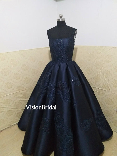 Gorgeous Spaghetti Straps Lace Embroidery Ball Gown, Long Prom Dress, VB0728