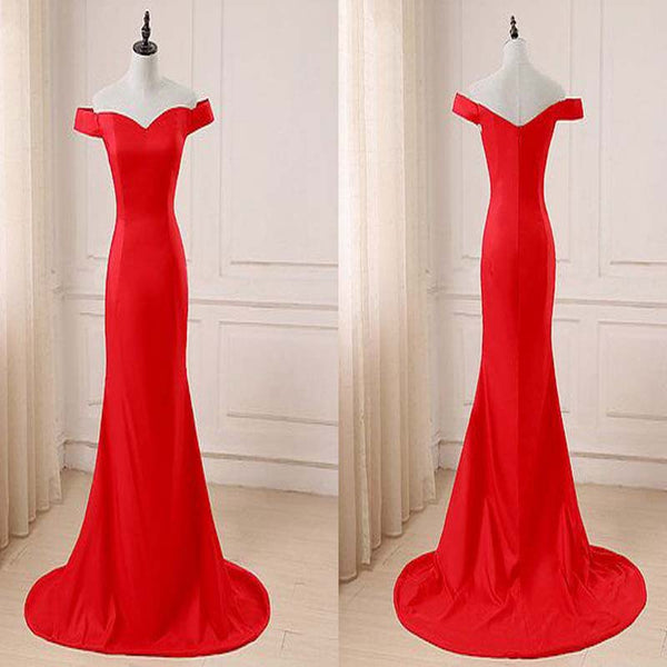 Red Sweetheart Off The Shoulder Satin Prom Dress, Mermaid Floor Length Prom Dress, Prom Dresses, VB0247 - Visionbridal