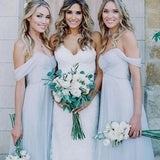Charming Blue Off Shoulder Bridesmaid Dresses, Wedding Party Dresses, VB03827