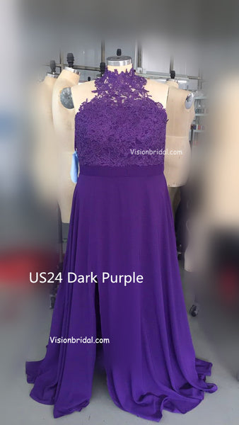 Elegant Halter Lace Top Sexy Side Slit Chiffon Bridesmaid Dresses, Bridesmaid Dresses, VB0767