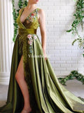 Alluring Green V-Neck With Flower Appliques A-Line Side Slit Prom Dresses, VB03670