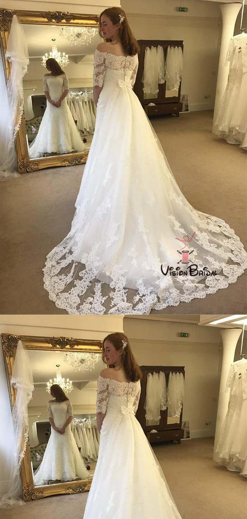 Elegant Off The Shoulder Half Sleeve Covered Button Lace Wedding Dresses With Trailing, Wedding Dresses With Bow-Knot, Bridal Gown, VB01719