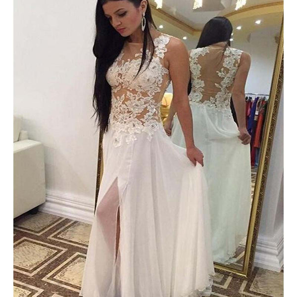 558a7816a8b Scoop Neckline Sleeveless Long Tulle Prom Dresses With Lace Appliques