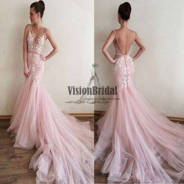 Pink V-Neck Lace Appliques V-Back Mermaid Prom Dress With Trailing, Beautiful Prom Dress, VB0485 - Visionbridal