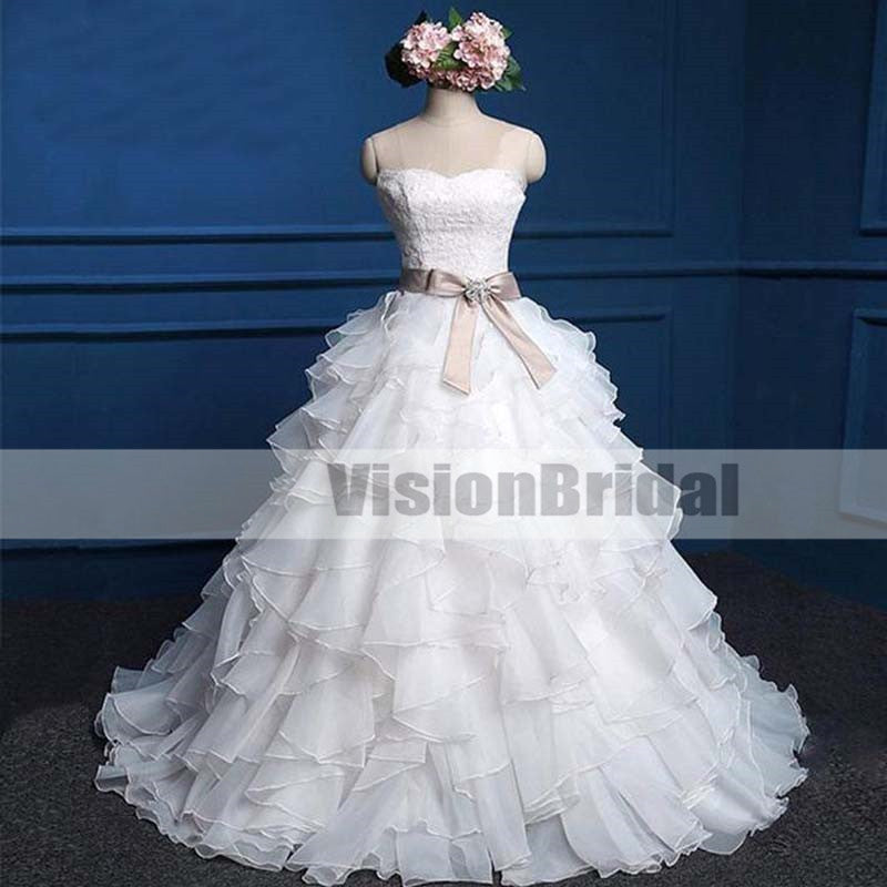 Sweetheart Lace Top Cute Bridal Gown, Cheap Popular Chiffon Wedding Dress, Princess Wedding Dresses With Beautiful Satin Sash, VB0921