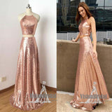 Shinny Rose Gold Halter Sleeveless Two Pieces A-Line Floor Length Prom Dress, Prom Dress, VB0562