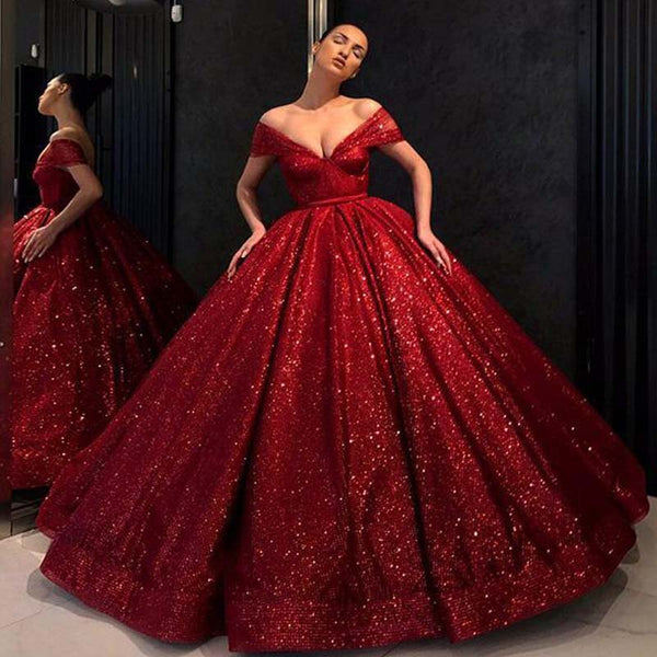 ee58614c1e Gorgeous Shiny Red Cap Sleeve Ball Gown Sequin Tulle Prom Dresses ...