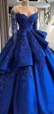 Gorgeous Royal Blue Off Shoulder Long Sleeve Ball Gown Prom Dresses With Appliques, PD0853