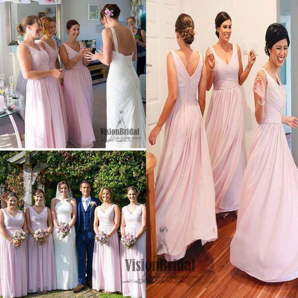 Charming Pink V-Neck Pleating A-Line Floor Length Bridesmaid Dress, Wedding Party Dress, Bridesmaid Dress, VB0519 - Visionbridal