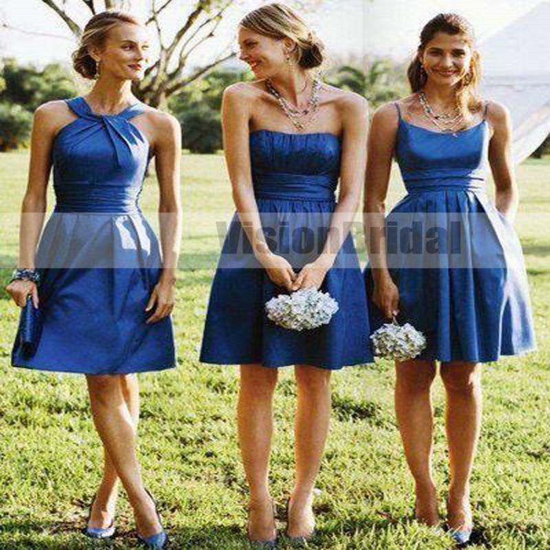 Charming Royal Blue Mismatched Pleating Knee-Length A-Line Bridesmaid Dresses, Bridesmaid Dresses, VB0839